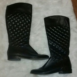 {Corso Como} Black Quilted Leather Riding Boots